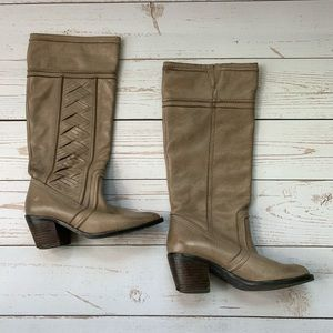 Fossil - Tan Knee High Riding Boots with Heel